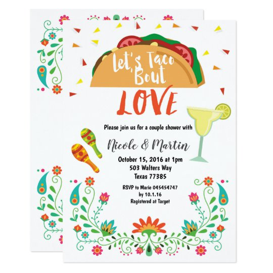 Couples Wedding Shower Invitation Fiesta with Taco.