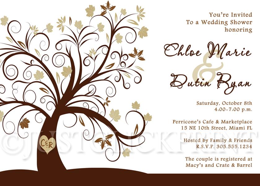 Tree of Love Couples Bridal Shower Invitation Printable.