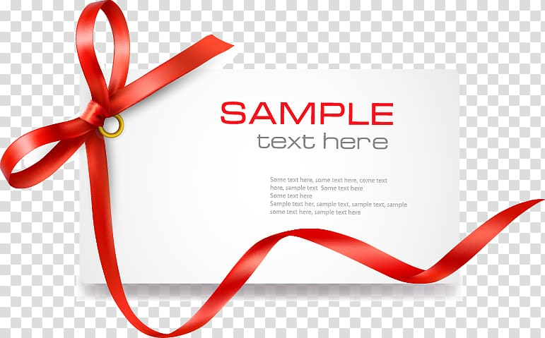 Red sample text here , Template Coupon Gift card , Red Bow.