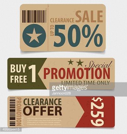 Sale Coupon, voucher, tag. Vintage Style template Design.