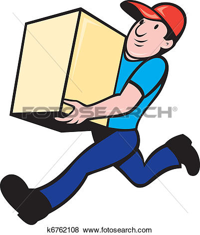 Stock Illustrations of Courier delivery person riding motorbike.