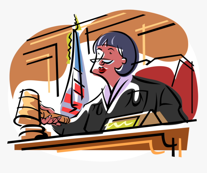 Vector Illustration Of Judicial Judge At Bench In Court.