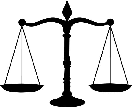 Courthouse scales of justice in a court house clipart.