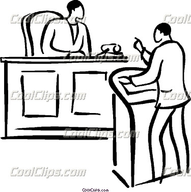 Lawyer in court clipart.