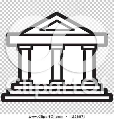 Clipart of a Black and White Court House Building Icon.