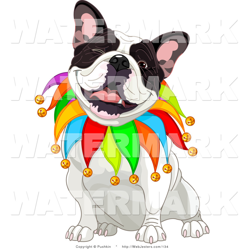 Clipart of a Happy French Bulldog Court Jester Sitting and Winking.