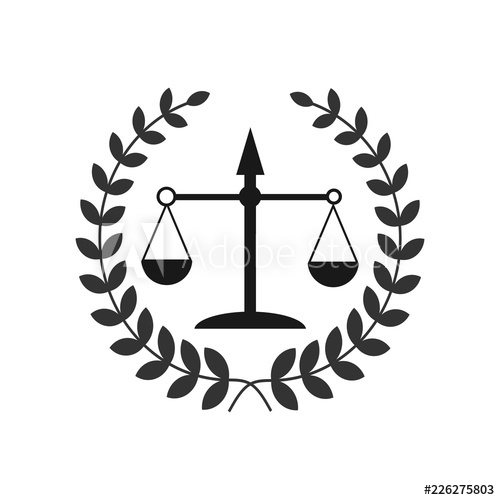 Justice scales lawyer logo, Scales of Justice sign icon.