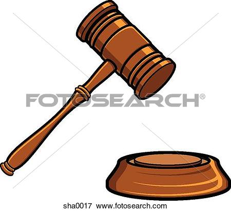 Stock Illustration of court judge and the scales of justice.
