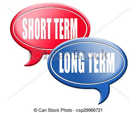 Clip Art de terme, court, pensée, long, Planification, ou.