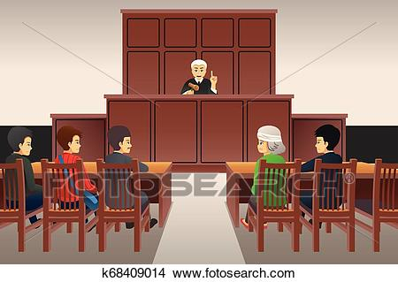 Courtroom Scene Illustration Clipart.