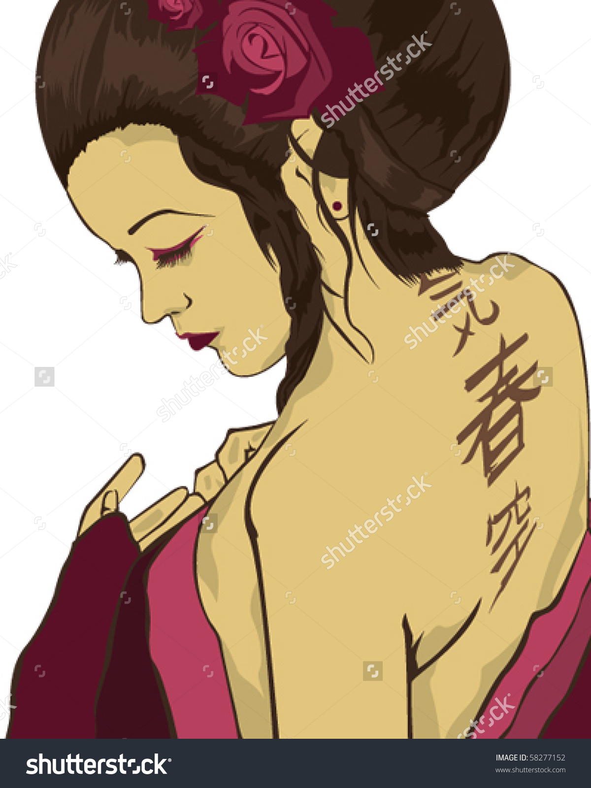 Geisha Stock Vector Illustration 58277152 : Shutterstock.
