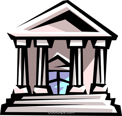 courthouse or bank building Royalty Free Vector Clip Art.
