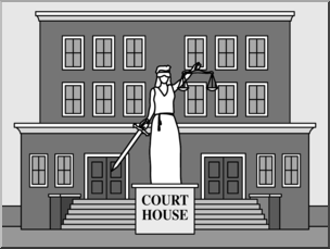 Clip Art: Buildings: Court House Grayscale I abcteach.com.