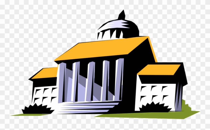 Vector Illustration Of Courthouse With Classical Architecture.