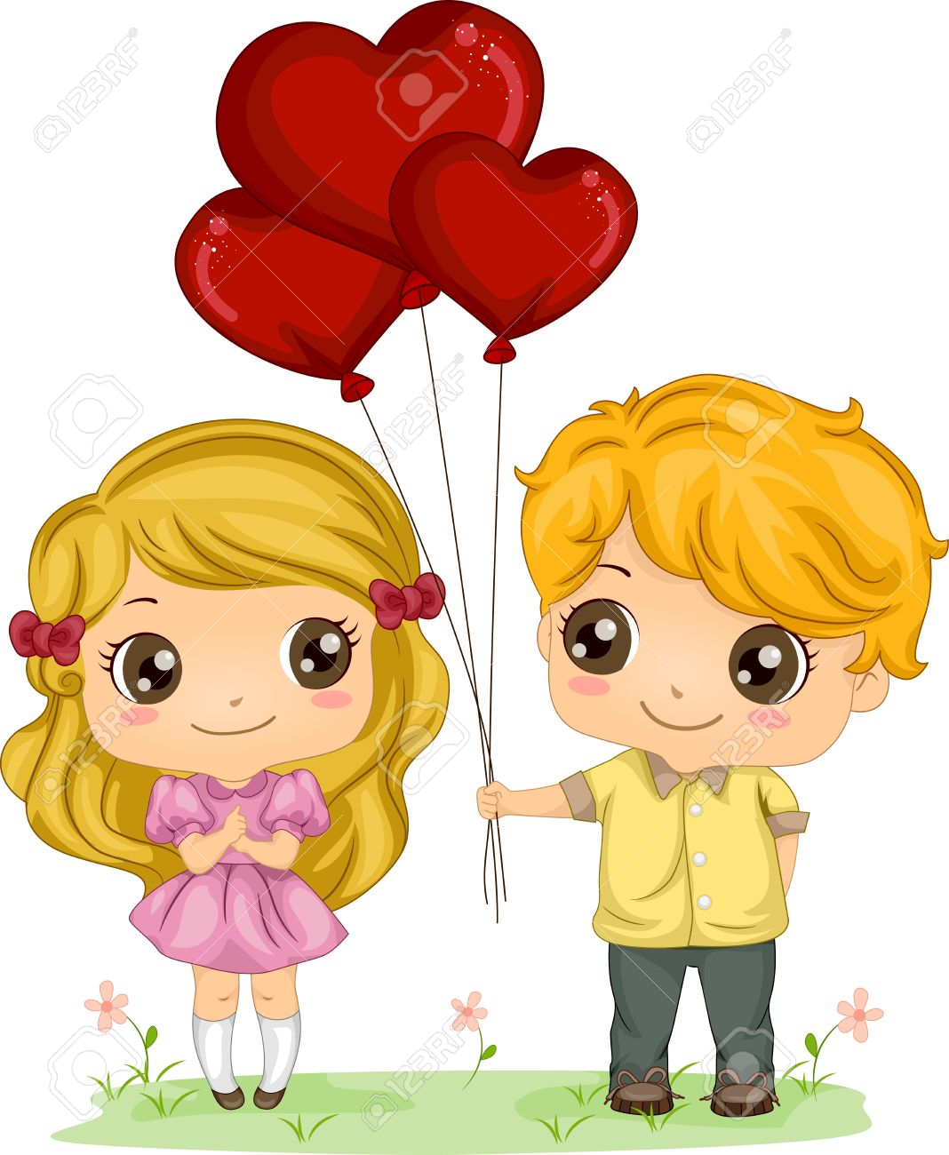 Illustration Of A Boy Giving A Girl A Bunch Of Balloons Stock.