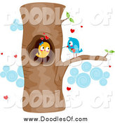Royalty Free Stock Doodle Designs of Love Birds.