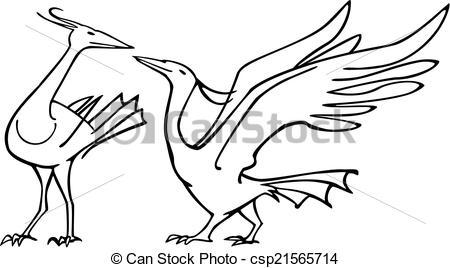 Vector Clip Art of Birds Courting.