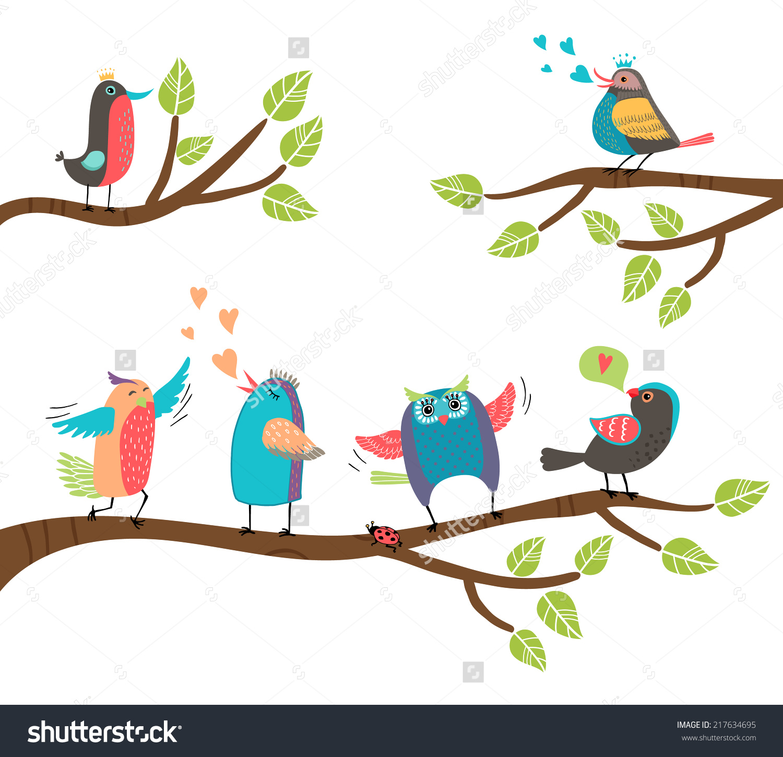 Set Cute Colorful Cartoon Birds Perched Stock Vector 217634695.