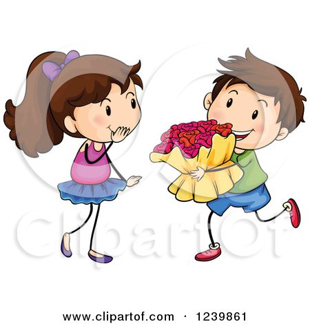 Courting a girl clipart.