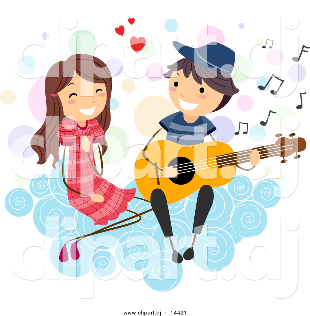 Cartoon Vector Clipart of a Stick Figure Boy Serenading a Girl on.