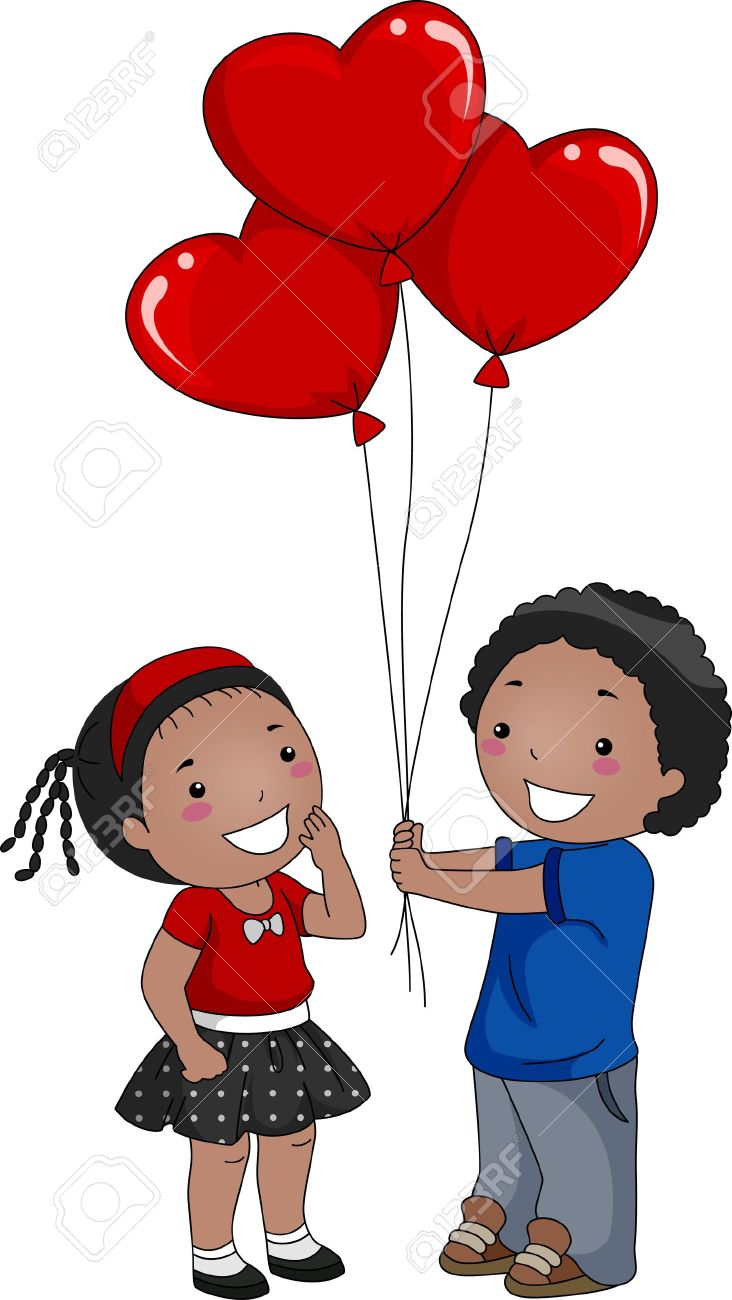 Illustration Of A Boy Giving Balloons To A Girl Stock Photo.