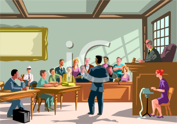 Courtroom trial clipart.