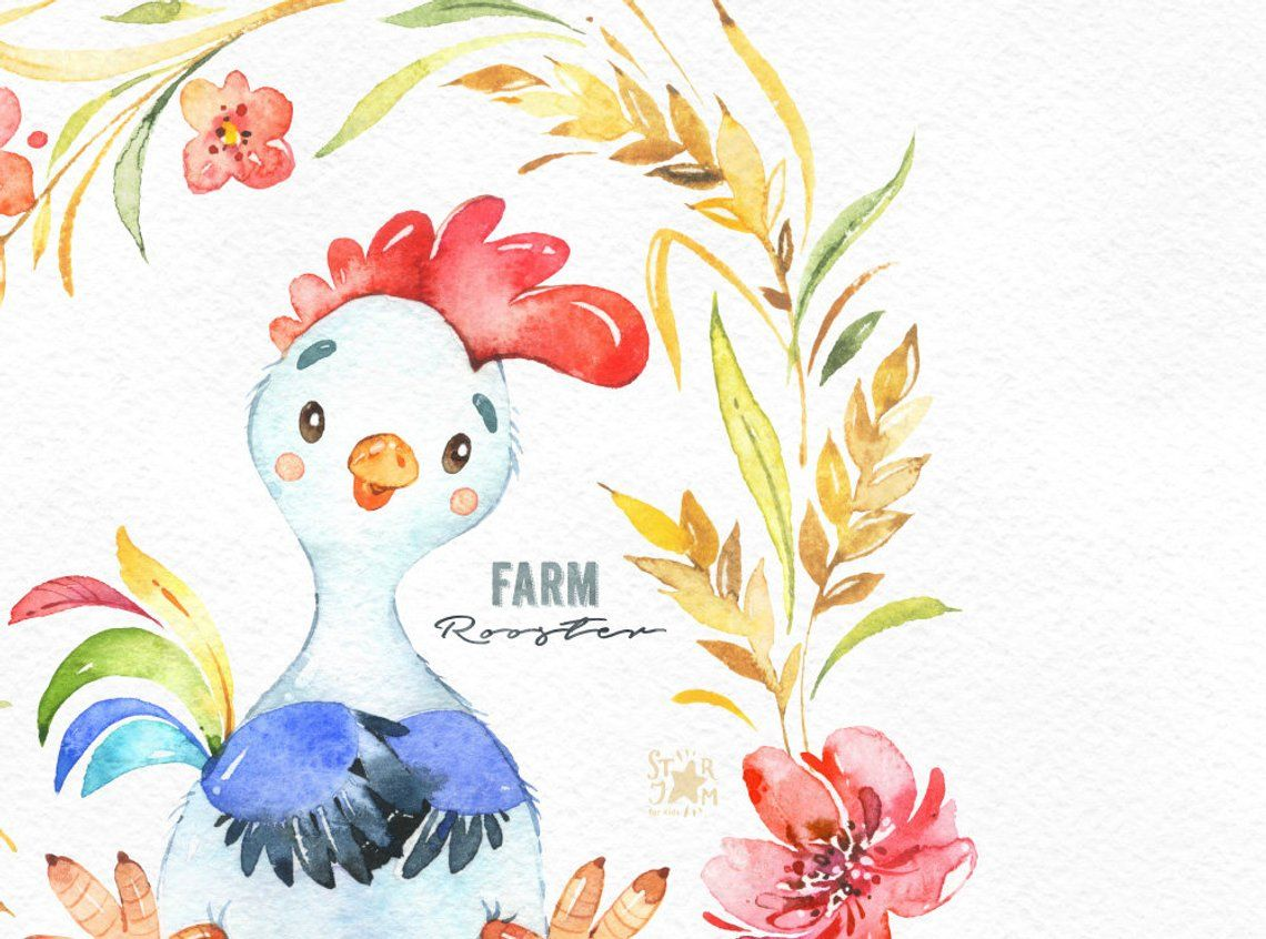 Farm. Rooster. Watercolor country clipart, little chicken.