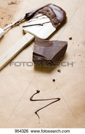 Stock Images of Piece of chocolate, remains of couverture, baking.