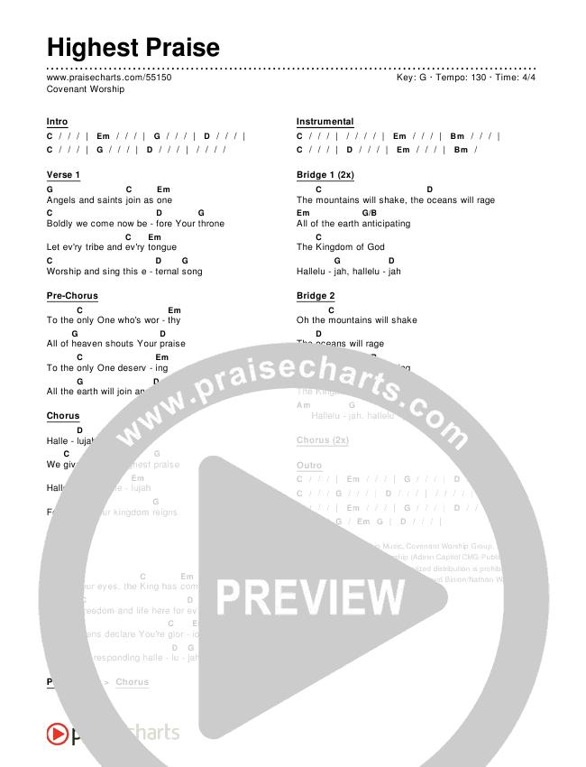 Highest Praise Chord Chart (Editable).