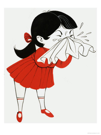 Covering mouth while sneezing clipart.