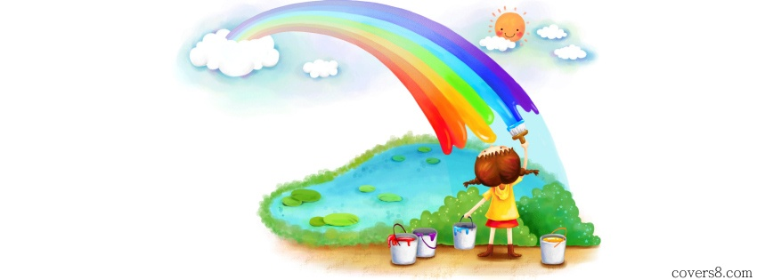 Young Girl Painting Rainbow.