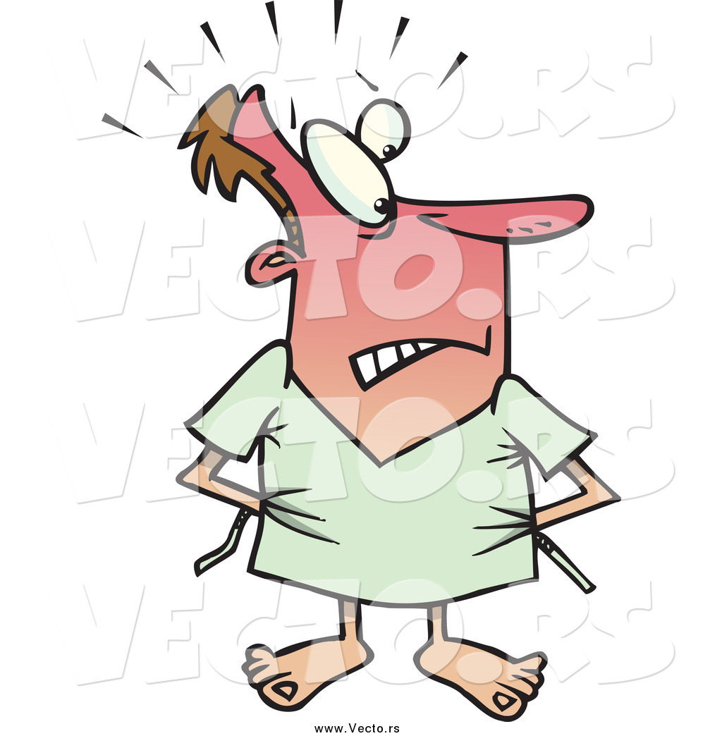 Vector of a Cartoon Male Hospital Patient Trying to Cover up His.