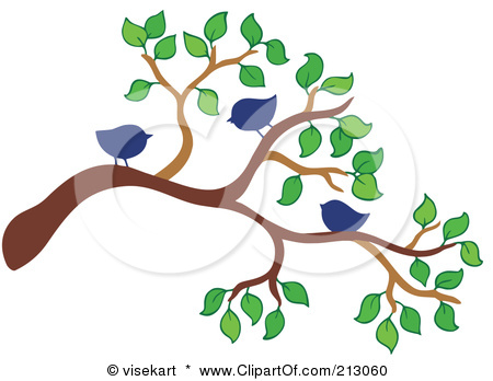 Birds On Tree Branches Clip Art.