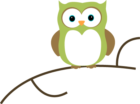 Owl on a Branch Clip Art.