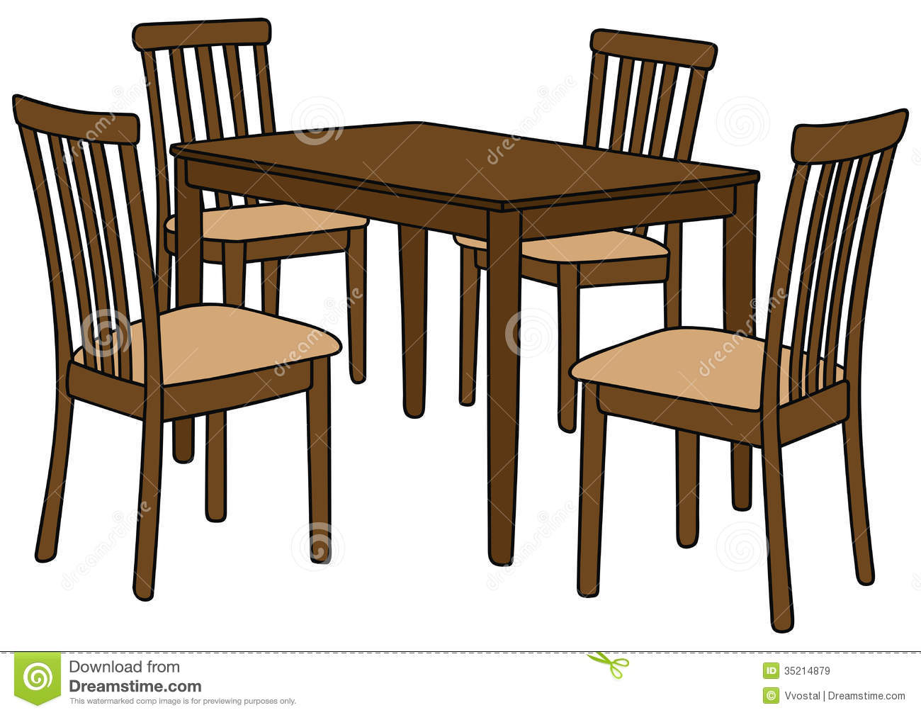 Table and chair cover clipart.