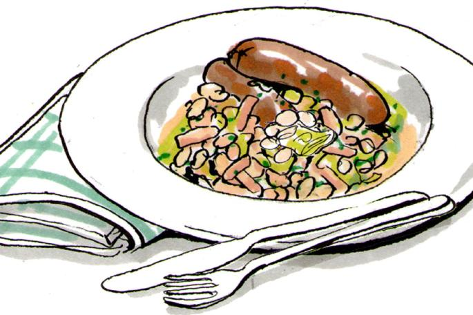 Dinner tonight: Sausage and bean casserole.