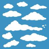 Clip Art of White clouds on blue sky k9709499.