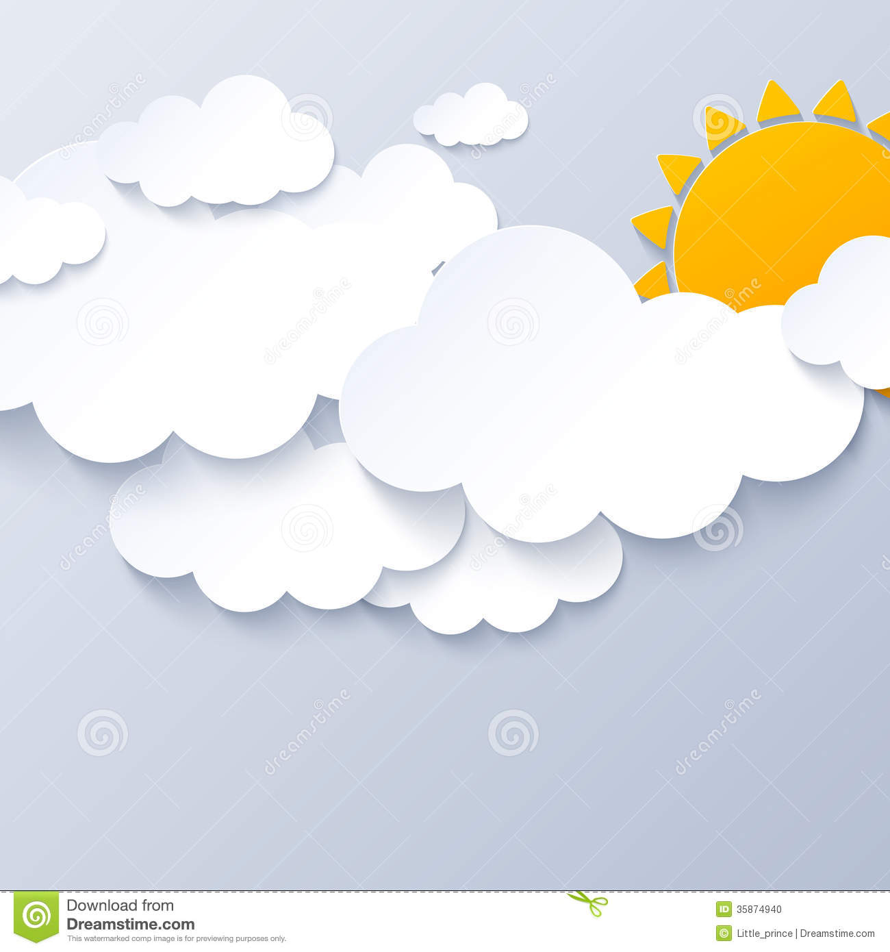 Sun And Clouds On Gray Sky Background Stock Photo.