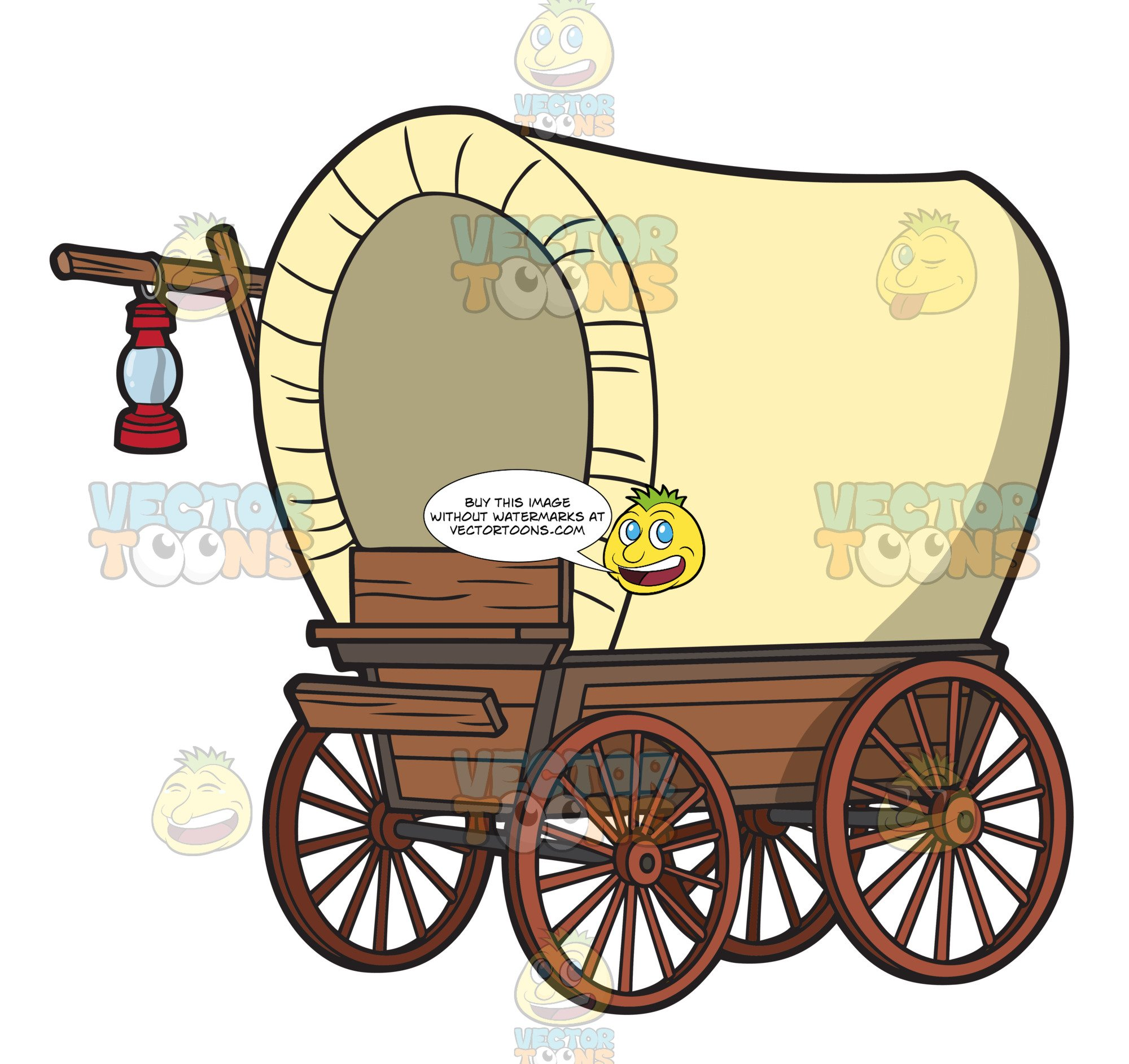 A Vintage Covered Wagon With Lamp.