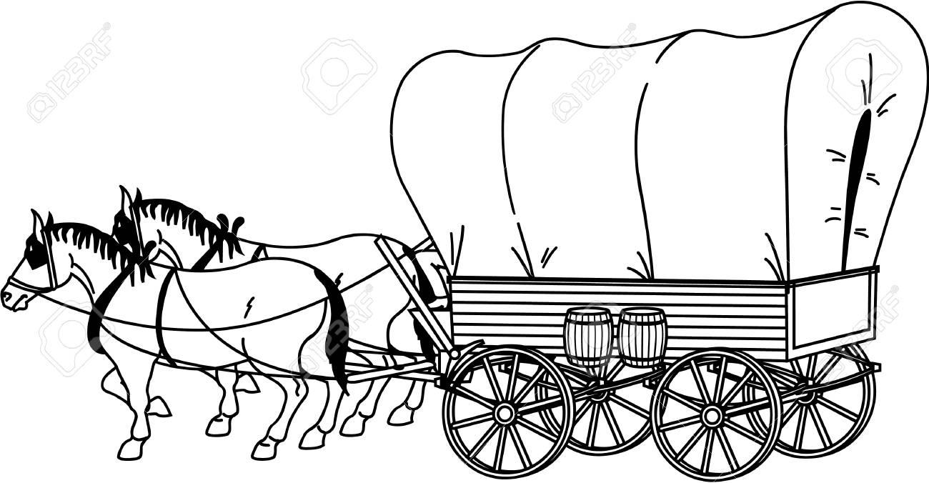 Covered Wagon Illustration.