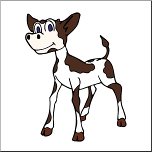 Clip Art: Cartoon Cow: Calf Color I abcteach.com.