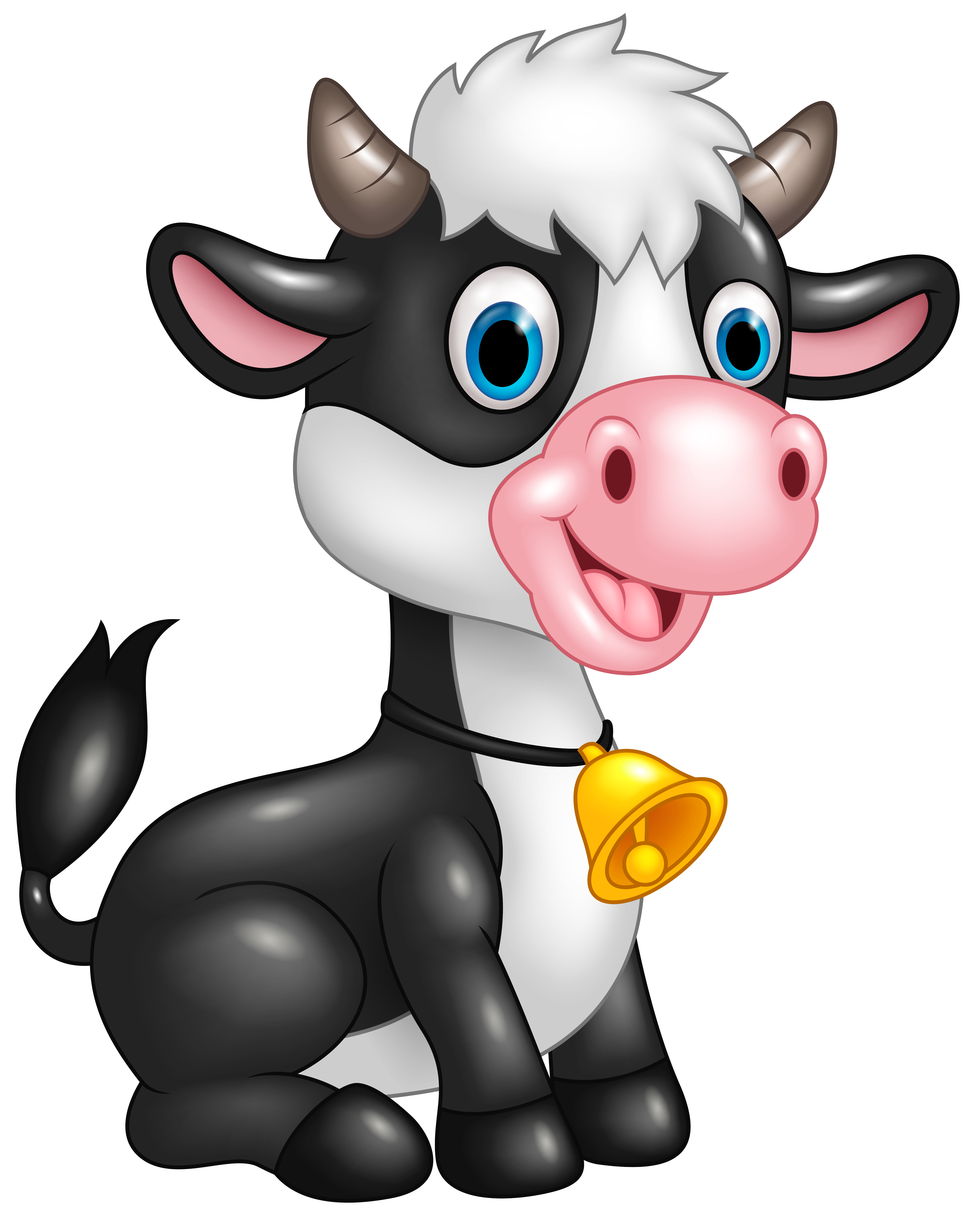 Cute Cow Cartoon PNG Clipart Image.