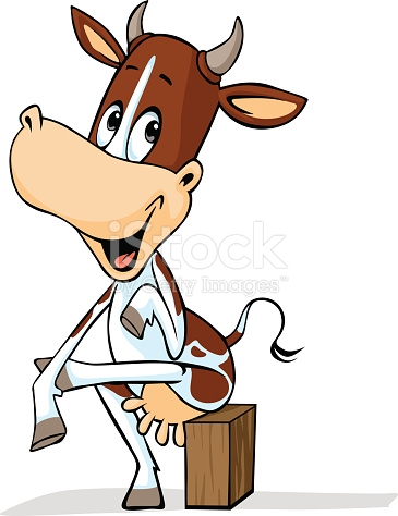 Cute Cow Sitting Leg Over Vector Outline Illustration stock vector.