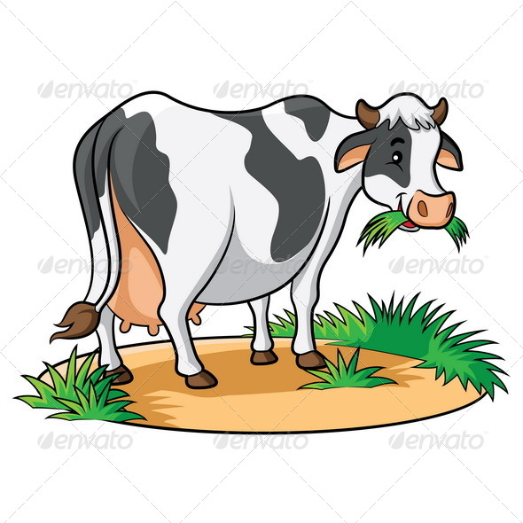 Cow Eating Clipart.