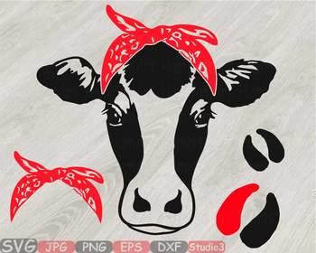 Cow Head whit Bandana Silhouette clipart bull cowboy cattle ox Farm Milk  814S.
