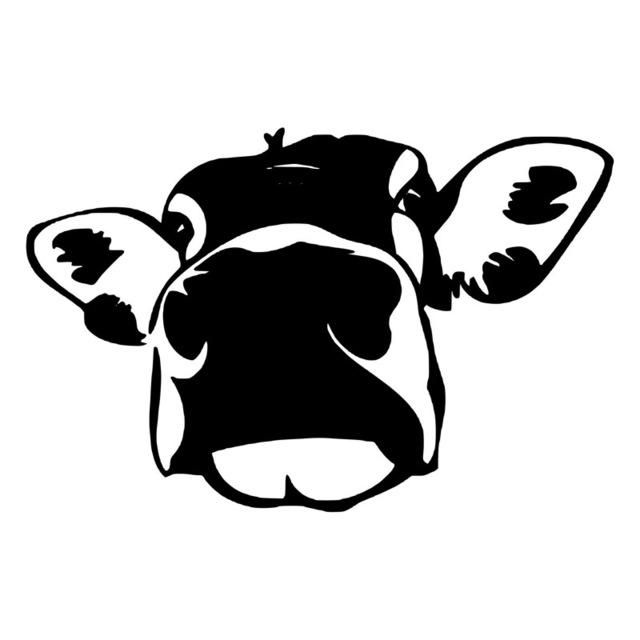 13.9*9.1CM Funny Cow Big Face Car Sticker Interesting Black.