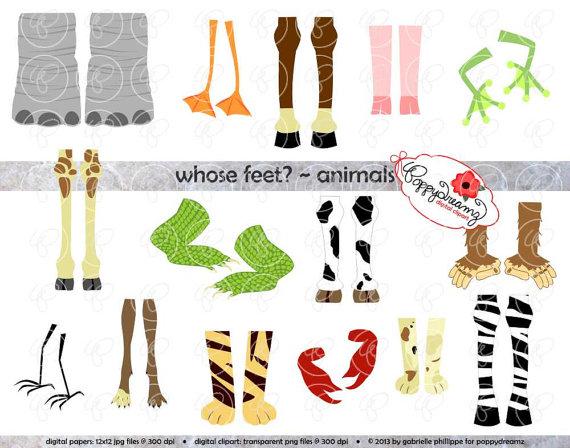 Whose Feet : Animal Digital Clipart Pack (300 dpi) Elephant Zebra.