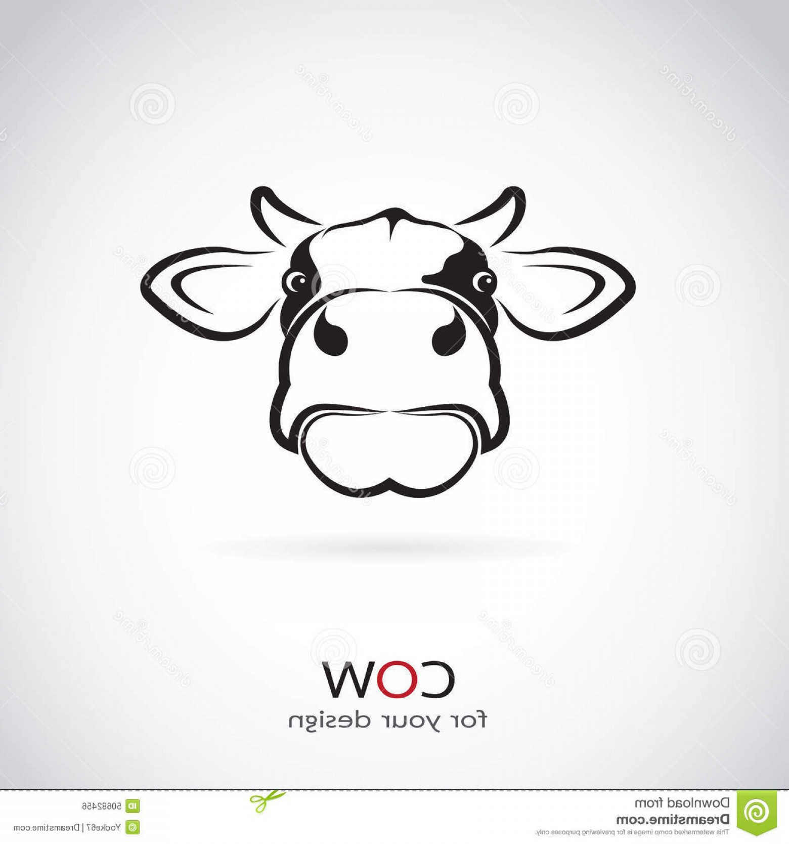 Stock Illustration Vector Image Cow Head White Background Image.