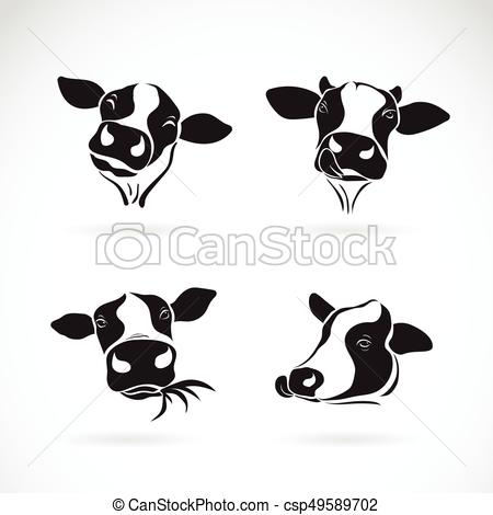 Vector group of a cow head design on white background. Farm Animal..