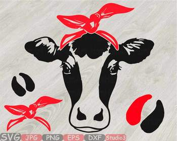 Cow Head whit Bandana Silhouette clipart bull cowboy cattle ox Farm Milk  812S.